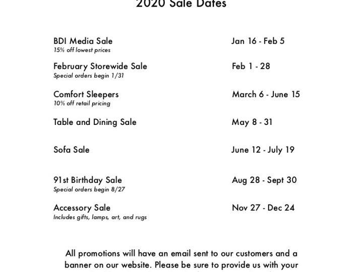 2020 Sale Dates